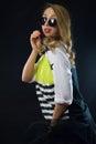 Rockabilly girl on black background Stock Images