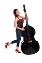 Rockabilly girl with upright bass an attractive smiling and posing an isolated on a white background clipping path included Royalty Free Stock Image