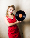 Rockabilly Music Girl Holding Vinyl Record Lp Royalty Free Stock Photo