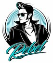 Rockabilly rebel in leather jacket with a fifties hairstyle and sunglasses, vector logo. Royalty Free Stock Photo