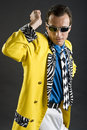 Rockabilly singer from 1950s in yellow jacket Royalty Free Stock Image