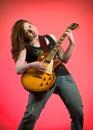 Rocker Girl Musician Electric Guitar Player Stock Photo