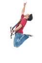 Rocker jumping and shouting Royalty Free Stock Photo