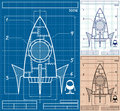 Rocket blueprint cartoon of ship in versions no transparency and gradients used Royalty Free Stock Photography
