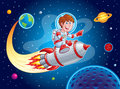 Rocket Boy Blasting from Earth to Outer Space Royalty Free Stock Photo