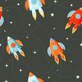 Rocket flat seamless pattern for project start up