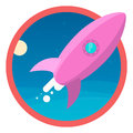 The rocket flies into space . icon Royalty Free Stock Photo