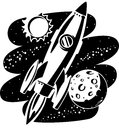 Rocket flying through outer space in vector illustration with Stock Images