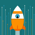 Rocket going fast to higher goals and success Royalty Free Stock Photography