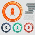 Rocket icon on the red, blue, green, orange buttons for your website and design with space text.