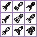 Rocket icons various set illustration Royalty Free Stock Images