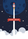 Rocket launch background star poster Stock Image