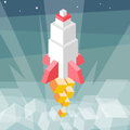 Rocket launch. Cubes composition isometric vector illustration of cruise missile. New product, successful beginning concept. Royalty Free Stock Photo
