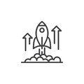 Rocket launch line icon, outline vector sign, linear pictogram isolated on white Royalty Free Stock Photo