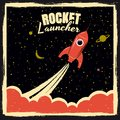 stock image of  Rocket launcher startup rocket retro poster with vintage colors and grunge effect. Vector, illustration, isolated