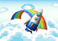 A rocket near the rainbow illustration of Stock Photography