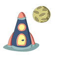 Rocket and the planet, vector isolated illustration in simple style.