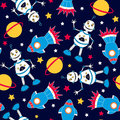 Rocket and robots seamless pattern on a navy background Royalty Free Stock Image