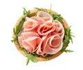Rocket salad and sliced ham Royalty Free Stock Photo