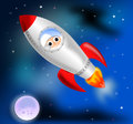 Rocket ship illustration of a flying through space Stock Photos