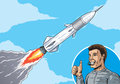 Rocket in sky comic book version of a launch Stock Photo