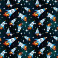 Rocket in space background seamless raster pattern Stock Photo