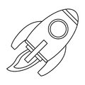 rocket space travel line Royalty Free Stock Photo