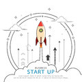 Rocket style in business concept flat line design.