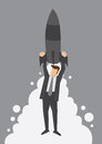 Rocket Up to the Top Metaphor Vector Illustration Royalty Free Stock Photo