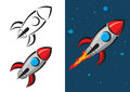 Rocket vector illustration retro style Stock Images