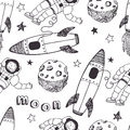 Rockets and astronauts pattern hand drawing sketch Royalty Free Stock Photography