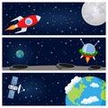 Rockets & Satellite Horizontal Banners