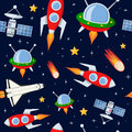 Rockets satellites stars seamless pattern a cartoon with comets or asteroids spacecrafts shuttle and on dark blue background with Stock Photography