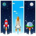 Rockets & Space Shuttle Vertical Banners Royalty Free Stock Photo