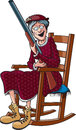 Rockin granny a cartoon of grandma in a rocking chair and packing a shotgun Stock Images