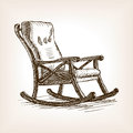 Rocking chair sketch style vector illustration