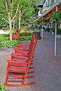 Rocking chairs Harbour Town Stock Photos