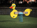 The rocking duck. Playground in the park. Royalty Free Stock Photo