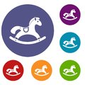 Rocking horse icons set