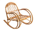 Rocking wicker chair isolated over white background Stock Image