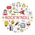 Rocknroll Line Art Thin Icons Set with Musical Instruments