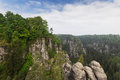 Rocks in bastei view of the rock formations eastern germany Royalty Free Stock Photos