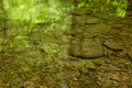 Rocks and boulders showing in a shallow brook with green trees r Royalty Free Stock Photo