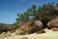 Rocks on the cabo de rama beach goa sand and south india Stock Photography