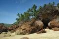 Rocks on the cabo de rama beach goa sand and south india Stock Photography