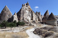 Rocks with caves near gereme in cappadocia turkey Royalty Free Stock Image