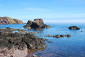 Rocks cliffs and sea at st abbs cliifs coastal view in berwickshire Royalty Free Stock Photos