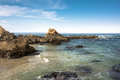 The rocks in the coast of Fort Bragg, California Royalty Free Stock Photo