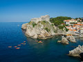 Rocks in dubrovnik old castle and adriatic croatia Royalty Free Stock Image