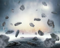 Rocks falling in chaos over abstract background Stock Image